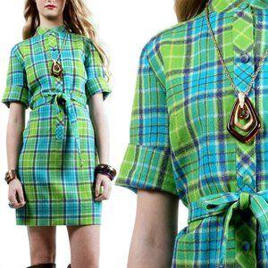 S/M Vintage 1960s Plaid Tartan Wool Mini Dress